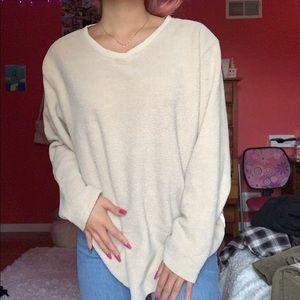 Oversized tan fuzzy sweater